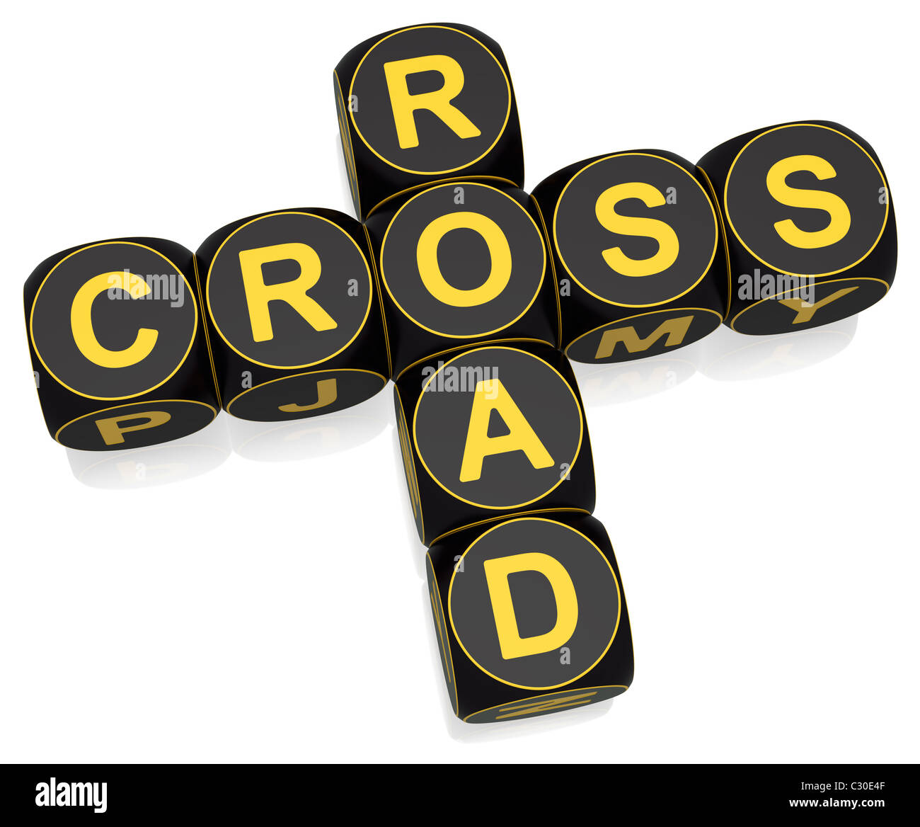 Crossroad crossword on white background - Stock Image