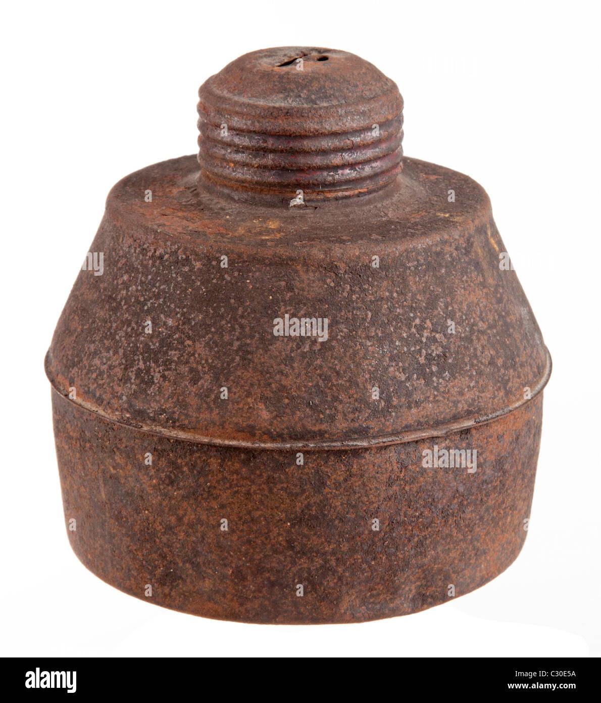 rust kerosene lamp with white background - Stock Image