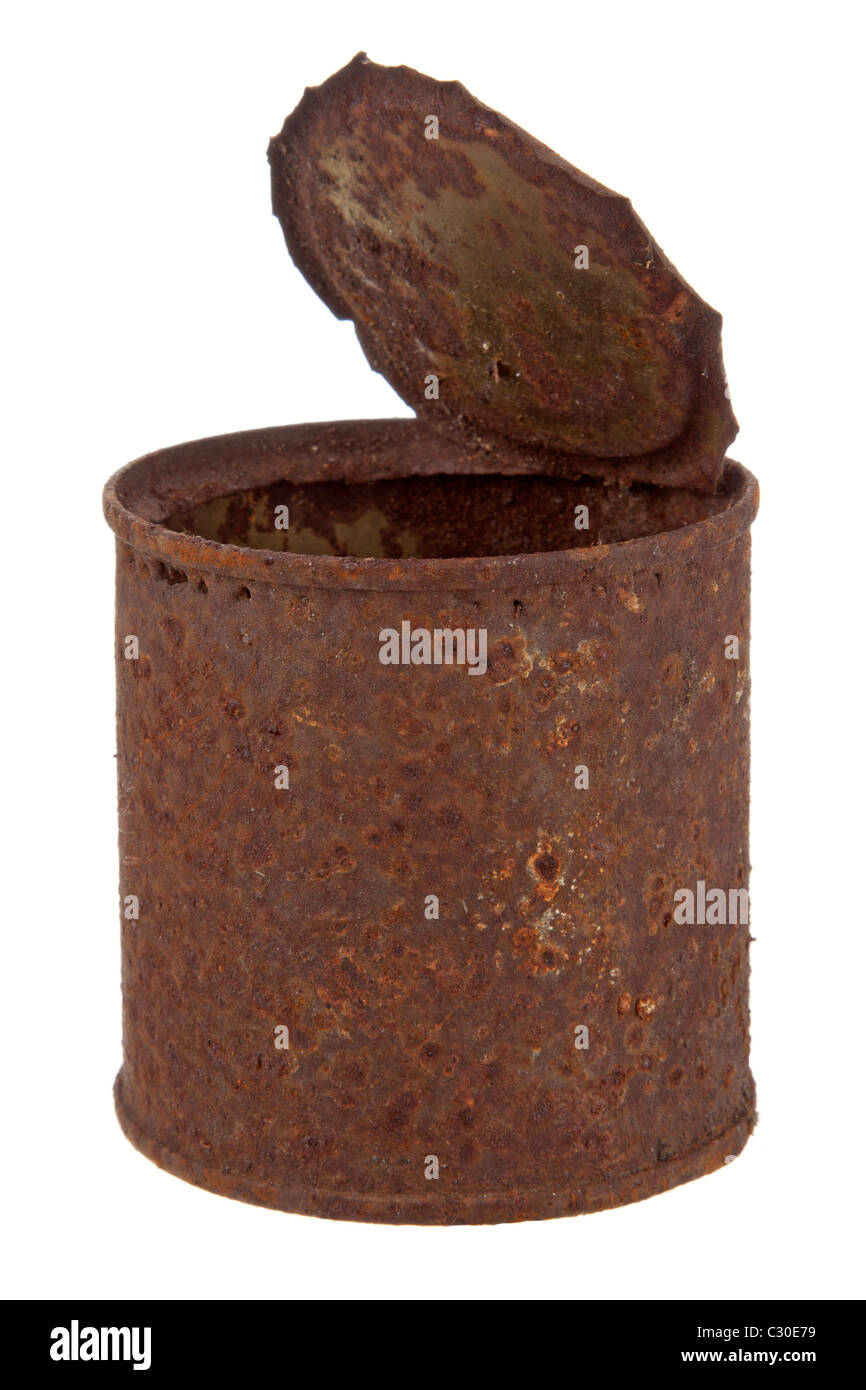 Old rusty tin can Stock Photo