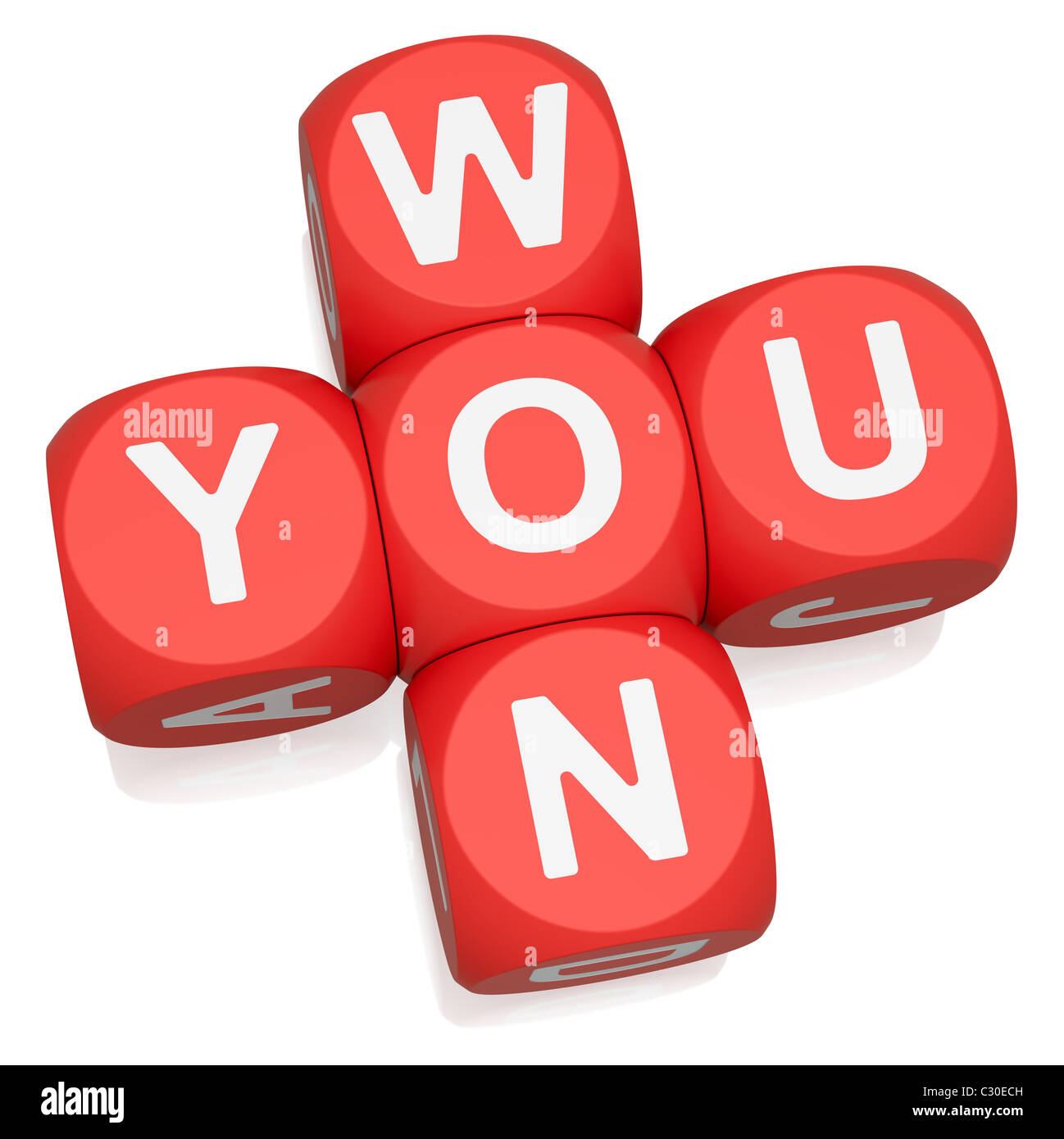 You Won crossword on white background - Stock Image