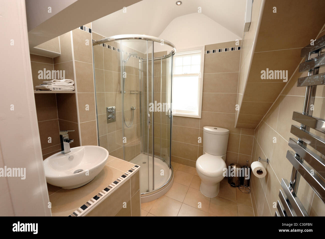 Modern loft conversion shower room - Stock Image