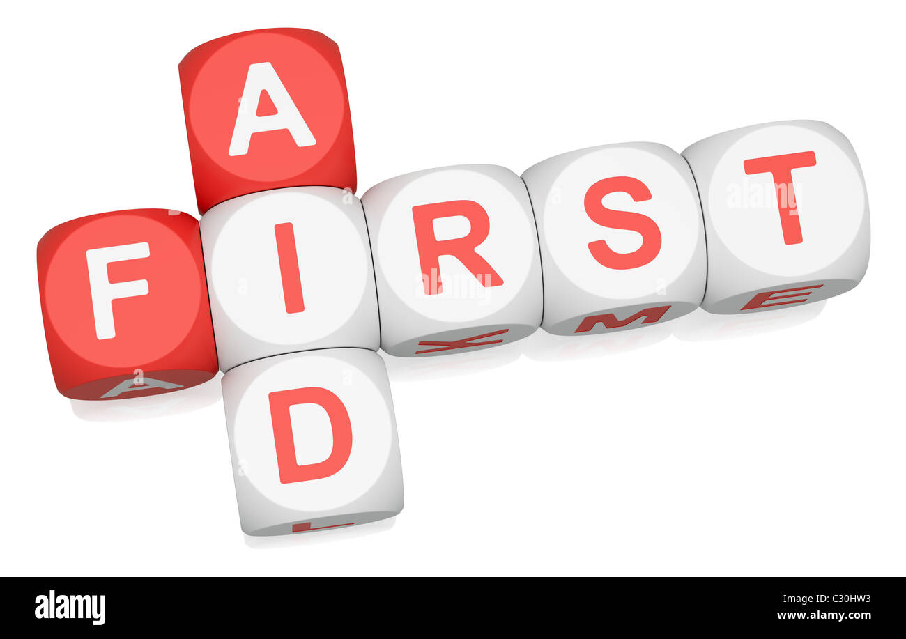 First Aid crossword on white background - Stock Image