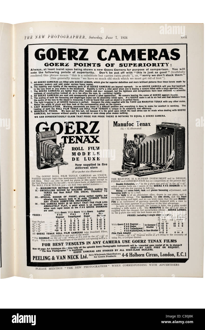 Old vintage advertisement for Goerz Cameras from The New Photographer magazine dated Saturday June 7th 1924. EDITORIAL - Stock Image
