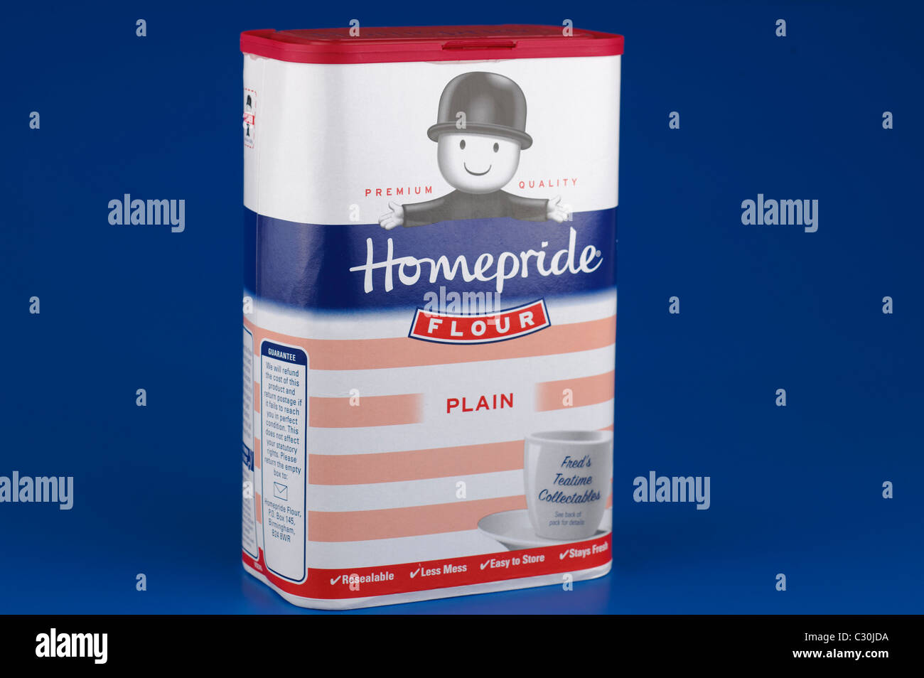 Resealable container of Homepride Plain flour - Stock Image