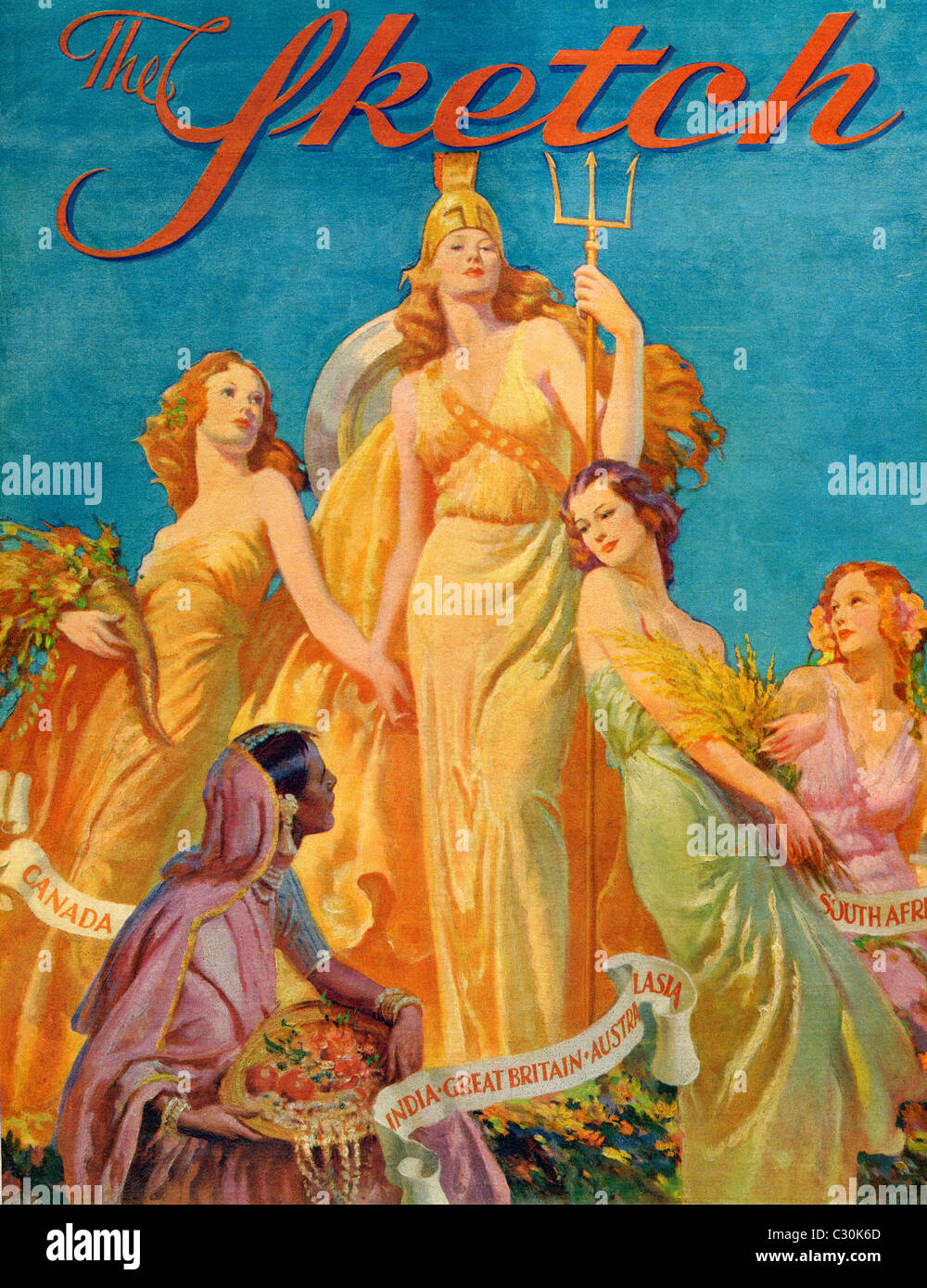 Front cover from The Sketch magazine, special coronation number, published 1937. Depicting Britannia - Stock Image