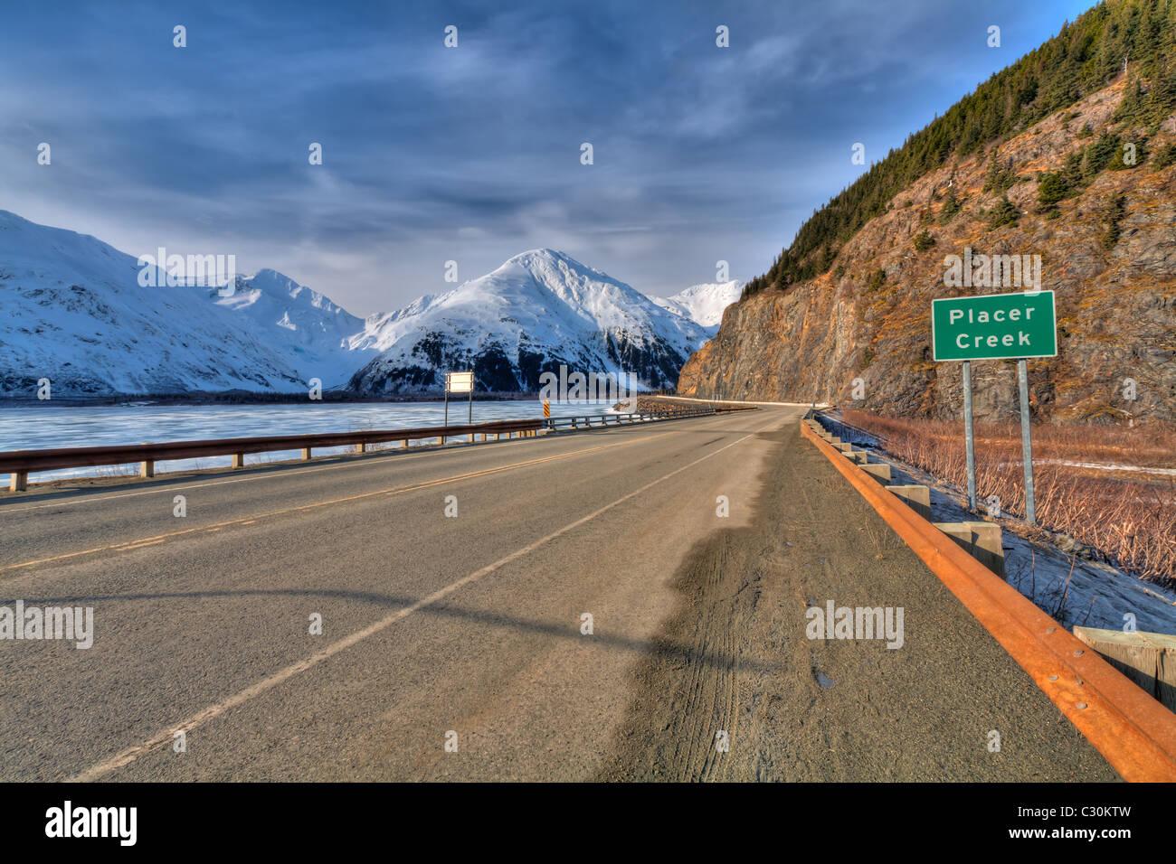 Portage Lake and Portage Glacier Road Bridge over Placer Creek Alaska HDR - Stock Image