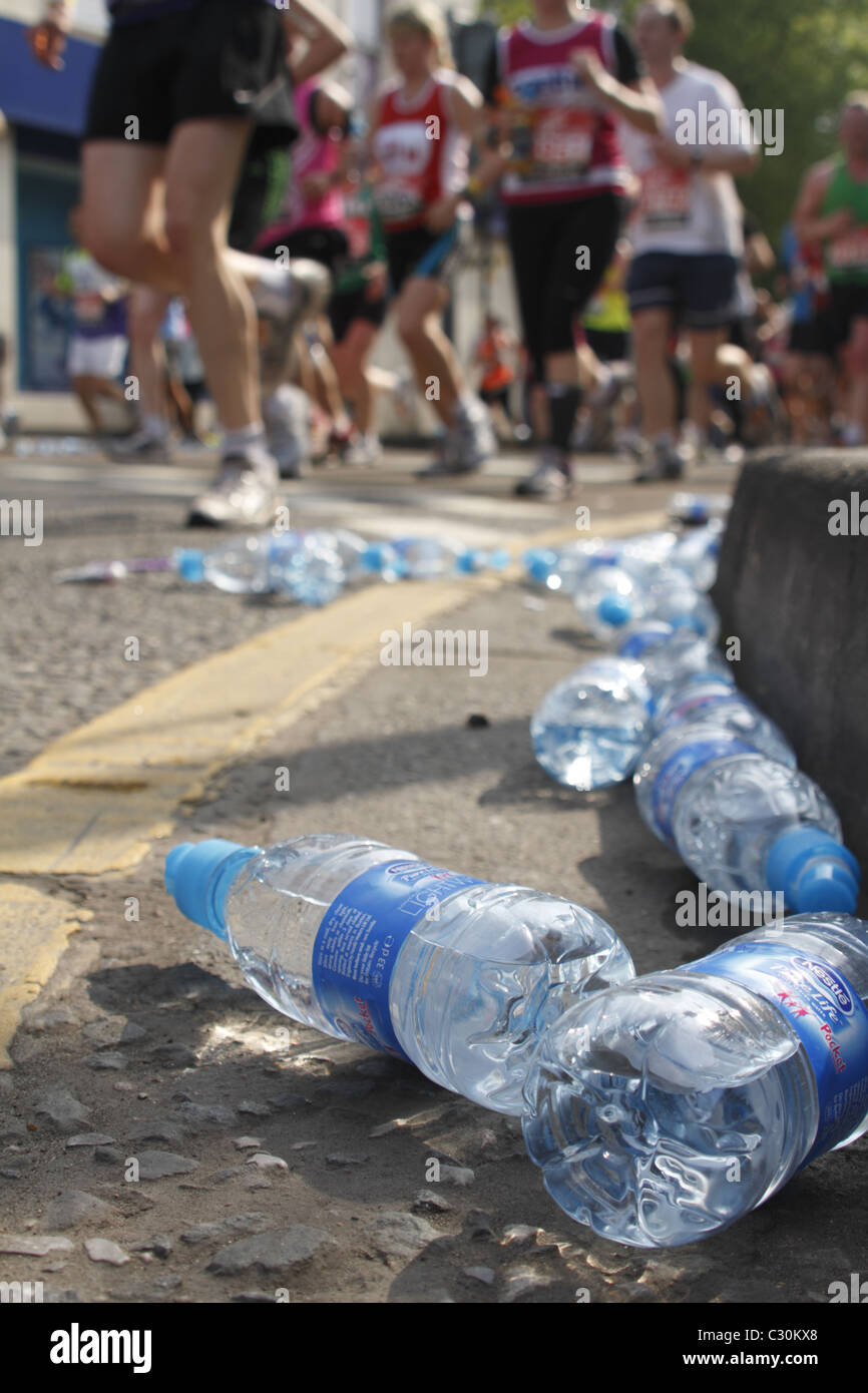 discarded plastic water bottles on route of london marathon stock photo 36280336 alamy. Black Bedroom Furniture Sets. Home Design Ideas