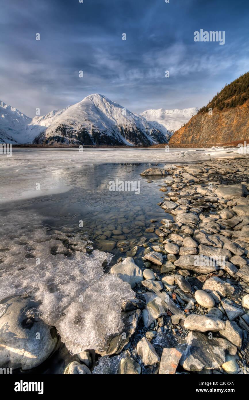 Portage Lake and the Chugach Mountains Alaska HDR - Stock Image