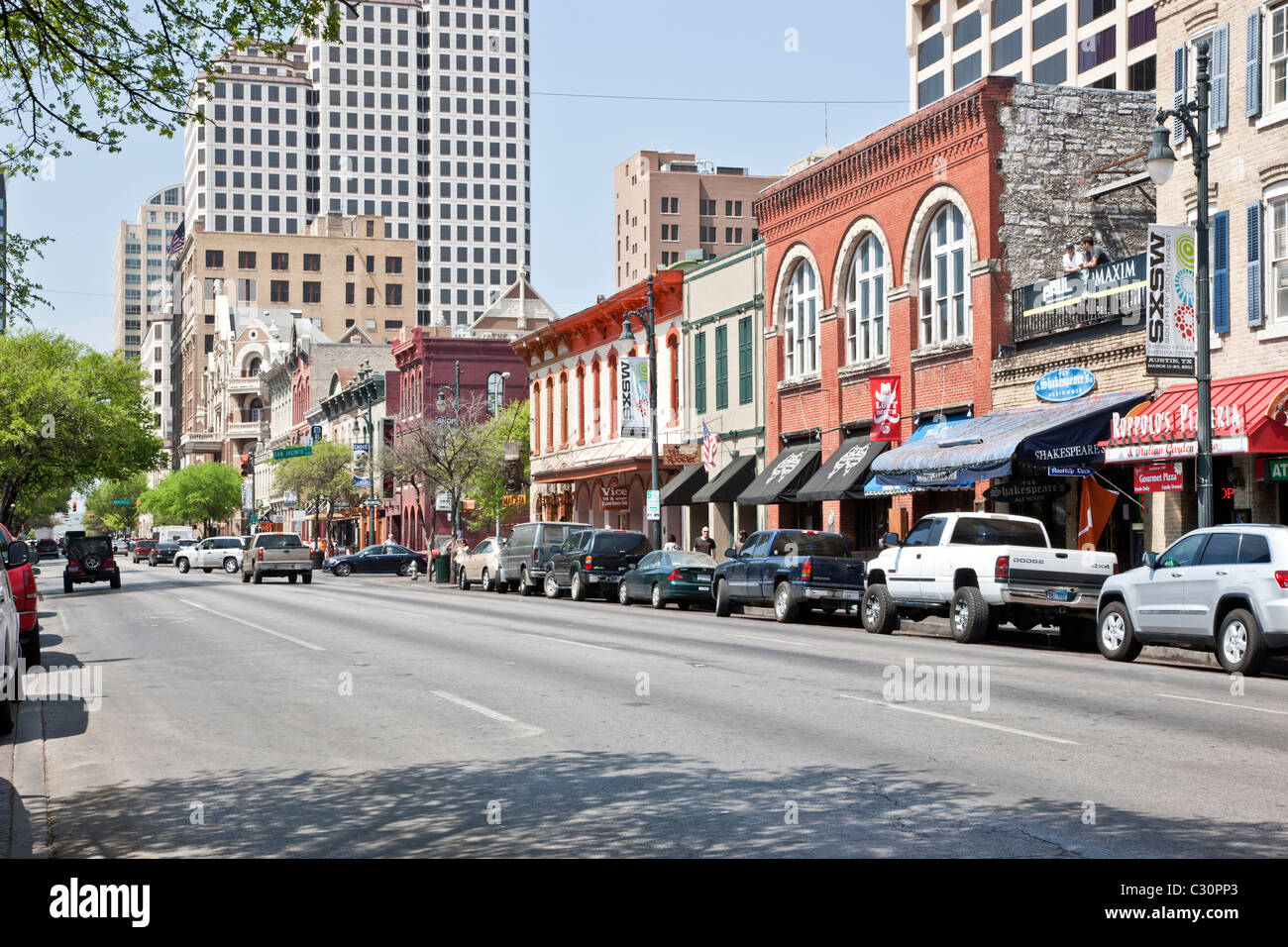 6th Street, 'Entertainment District' - Stock Image