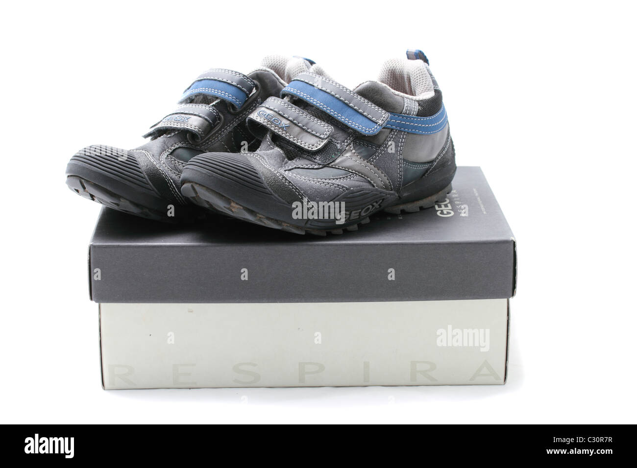 Geox Respira Geobuck and oiled blue trainers, size 1 (UK), 33 (Europe), velcro fastenings - Stock Image