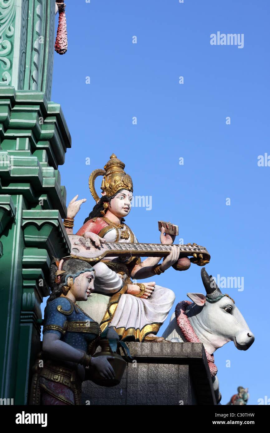 Hindu deities at Sri Veerama Kaliamman Temple on Serangoon Road, Singapore, Southeast Asia, Asia - Stock Image
