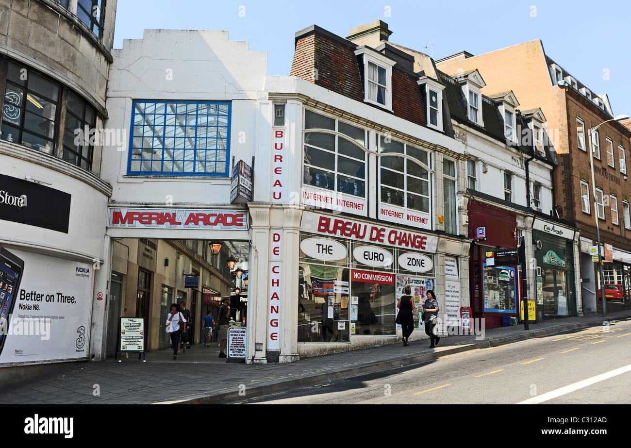 Bureau de change shop in brighton city centre uk stock photo