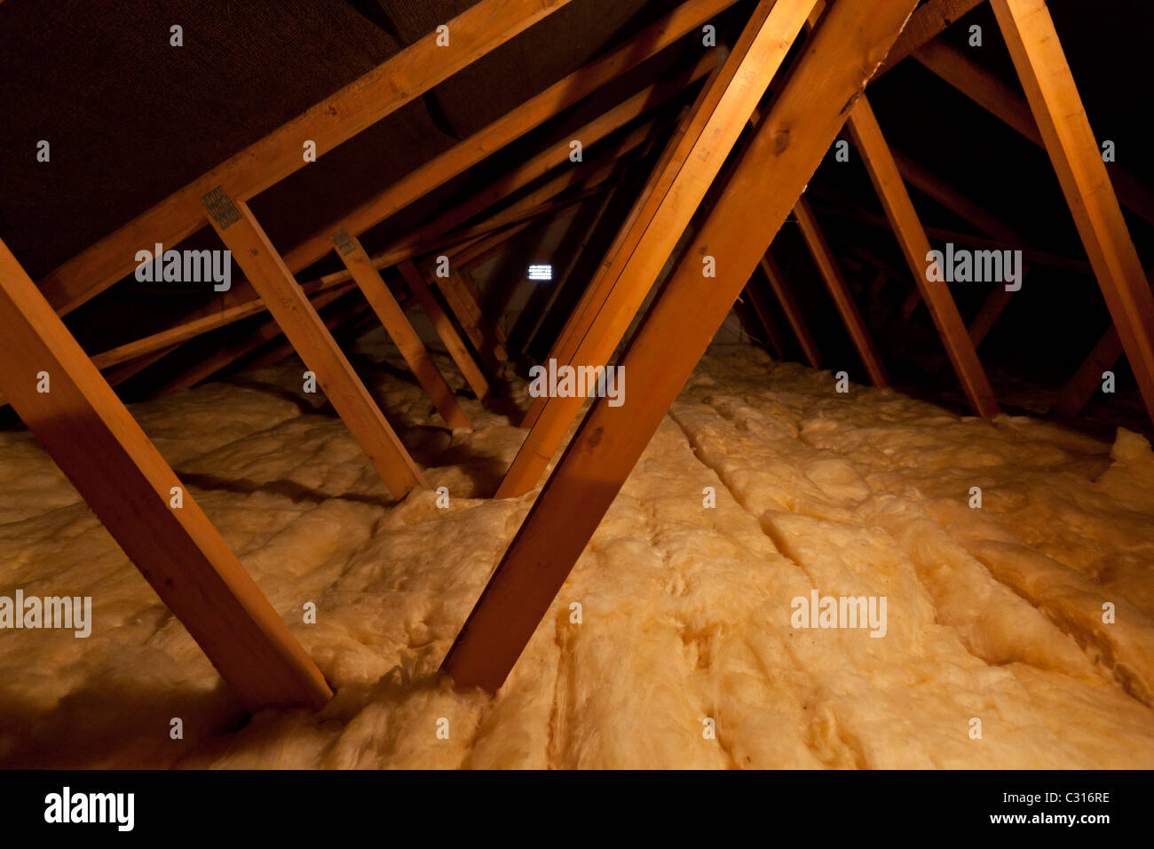 Inside a house loft putting extra insulation to increase warmth and thermal efficiency - Stock Image
