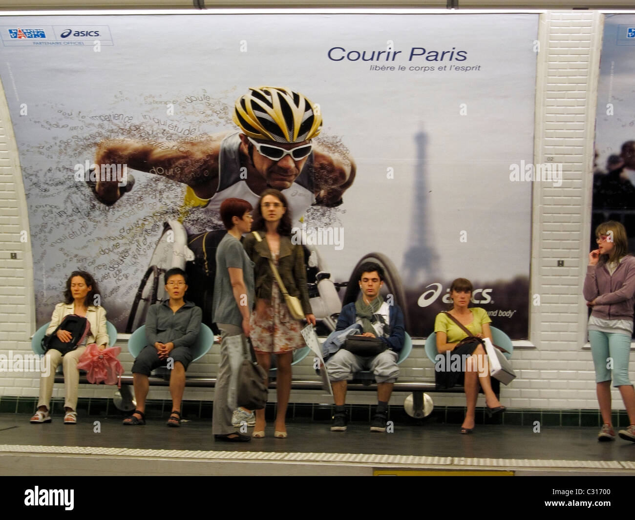 Paris, France, Group People, Metro in 'St Germain des pres' District, 'Ren-nes' French Advertising - Stock Image