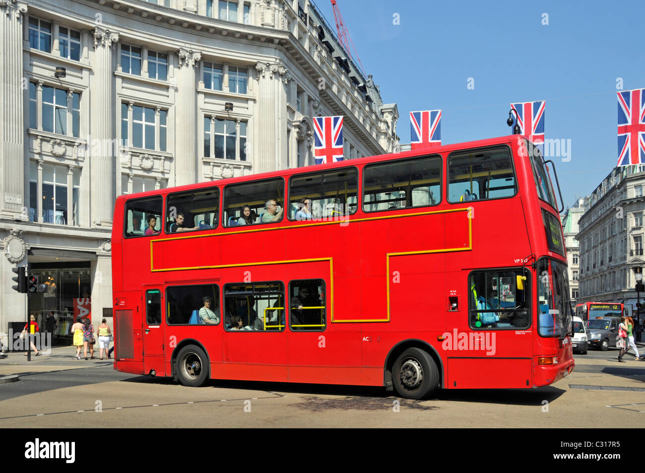 London red bus at Oxford Circus junction - Stock Image