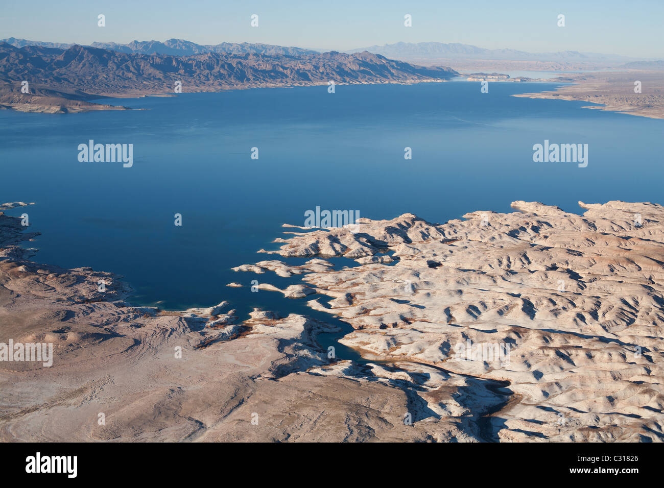 LAKE MEAD, LOOKING NORTH TOWARDS THE OVERTON ARM (aerial view). Largest reservoir in North America, Arizona / Nevada, Stock Photo