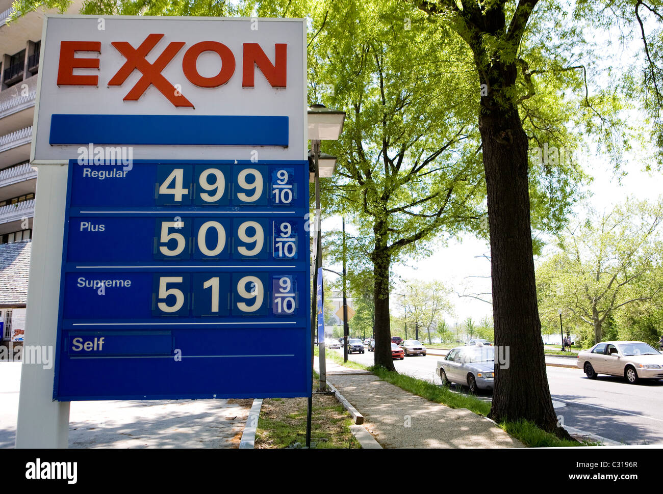 High gasoline prices at a U.S. gas station.  - Stock Image