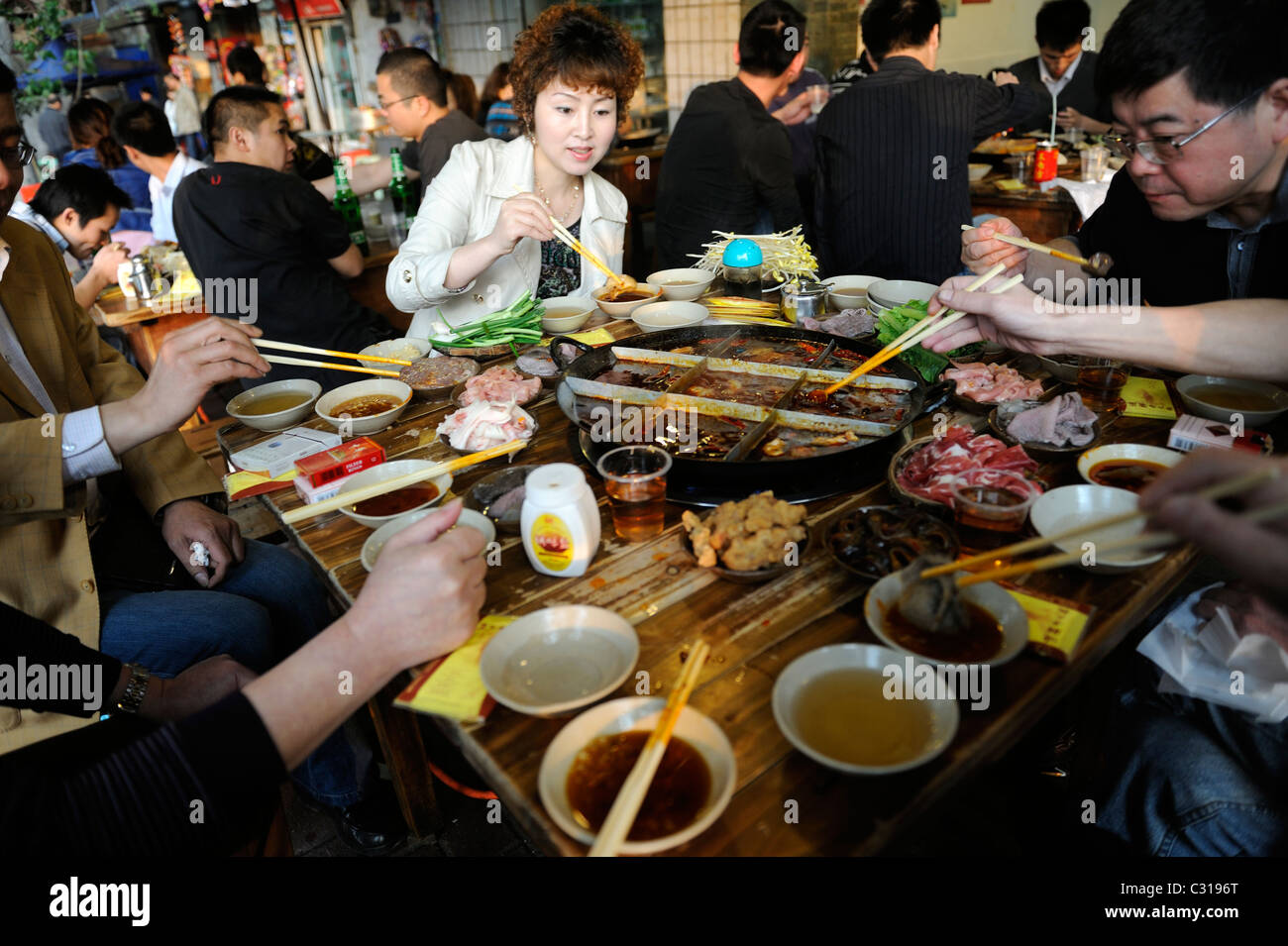 Residents have Hotpot in Chongqing, China. 22-Apr-2011 - Stock Image