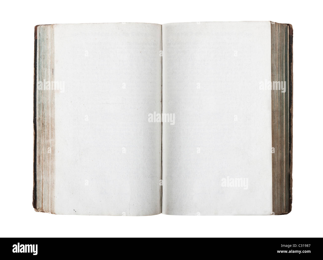 Open old book with empty pages isolated on white background - Stock Image