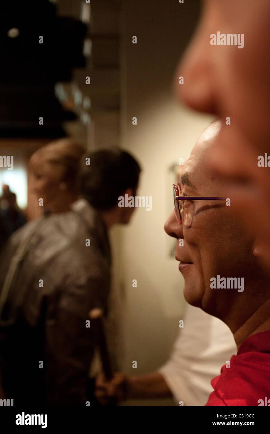 Dalai Lama in wax at the Madame Tussauds Wax Museum - Stock Image