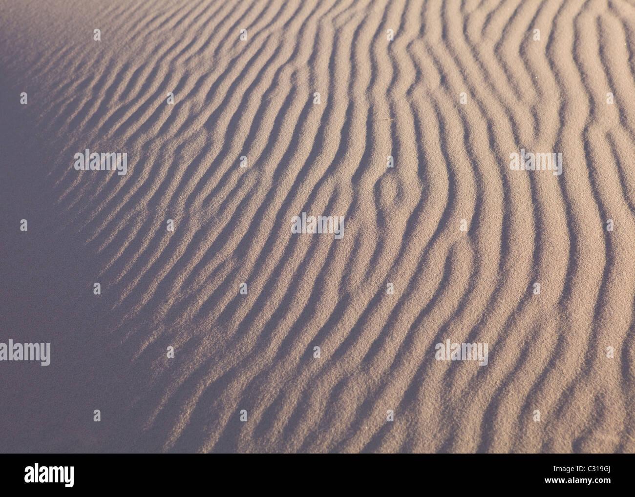 Wind ripples on desert sand - Mojave desert , California USA - Stock Image