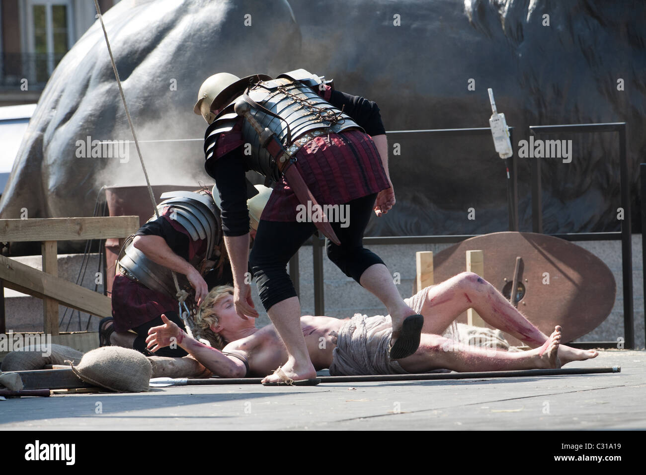 A thief after being removed from the cross Easter Passion Play Trafalgar Square Stock Photo