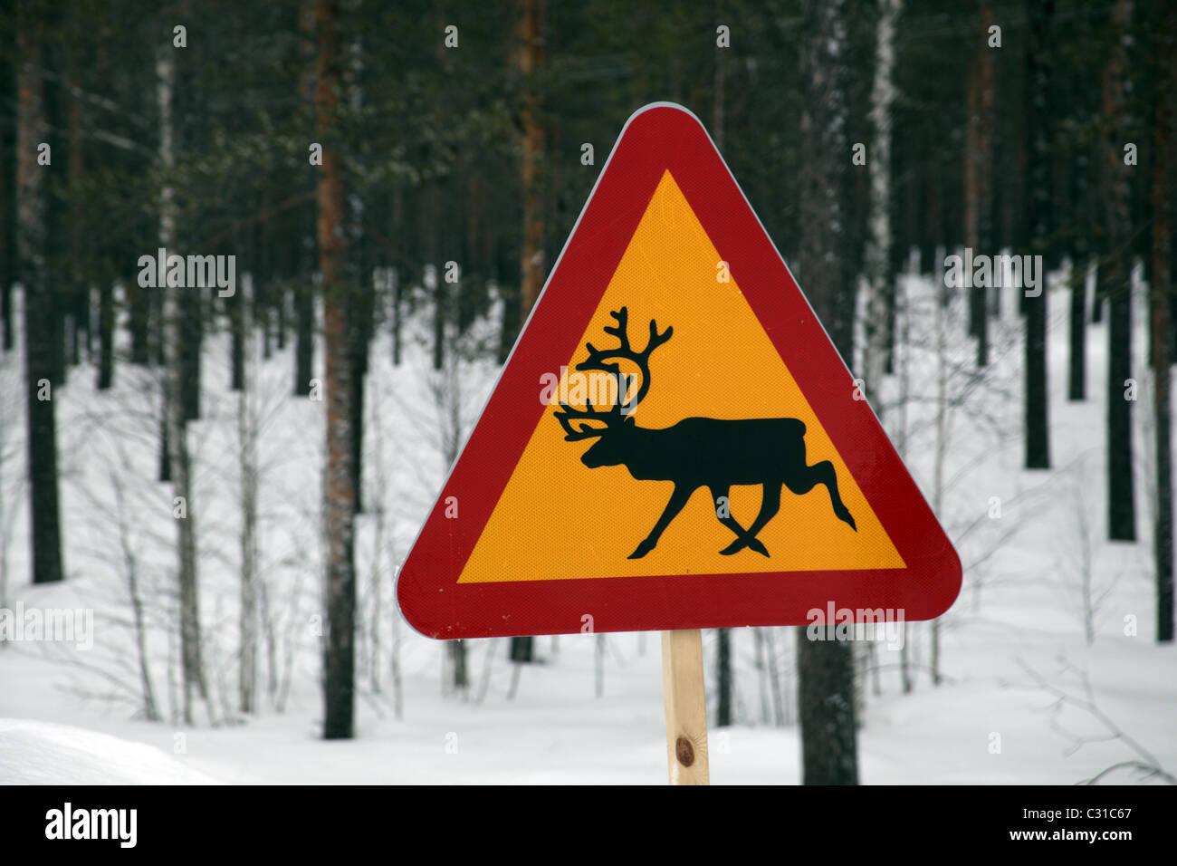 Beware of Elk sign on Swedish Road near Arvidsjaur, northern Sweden - Stock Image