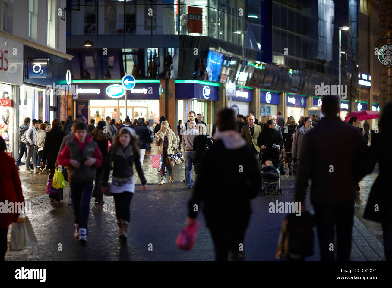 Leeds City Centre Shopping at night - Stock Image