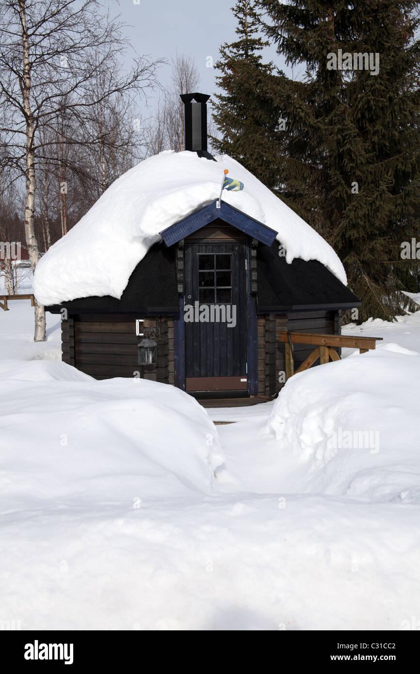 Traditional wooden sauna hut, Northern Sweden - Stock Image