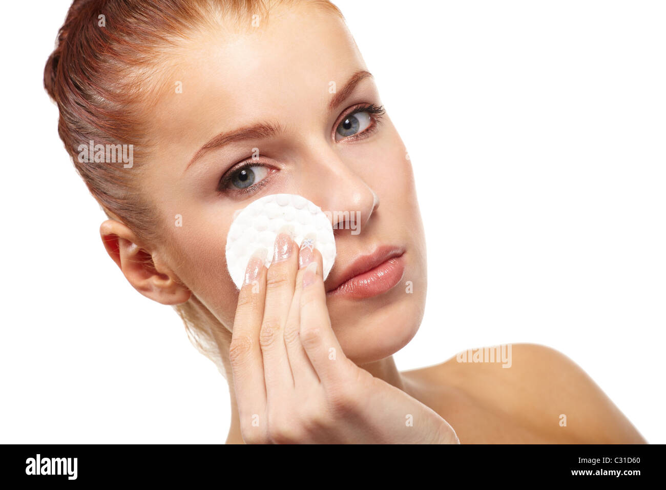 beautiful woman with cotton swab - Stock Image