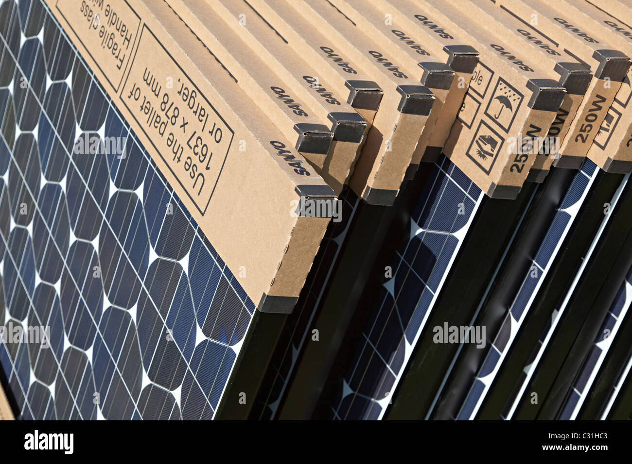 Sanyo high capacity solar pv photovoltaic panels in packaging UK - Stock Image