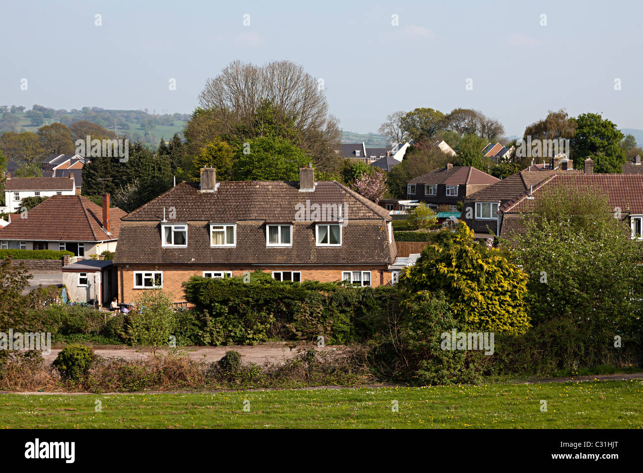 Housing estate in village Llanfoist Wales UK Stock Photo