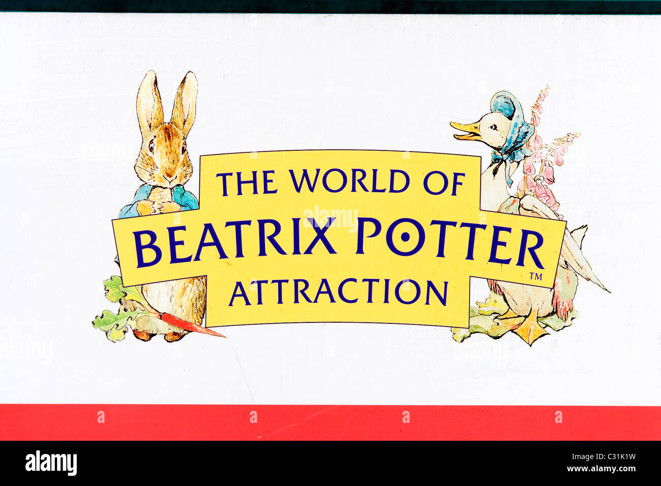 Sign outside the World of Beatrix Potter Attraction in Bowness, Lake Windermere, Lake District National Park, Cumbria, - Stock Image
