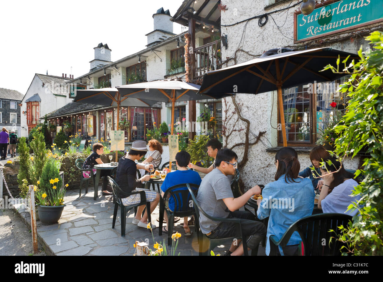 Traditional restaurant in the village centre, Bowness, Lake Windermere, Lake District National Park, Cumbria, UK - Stock Image