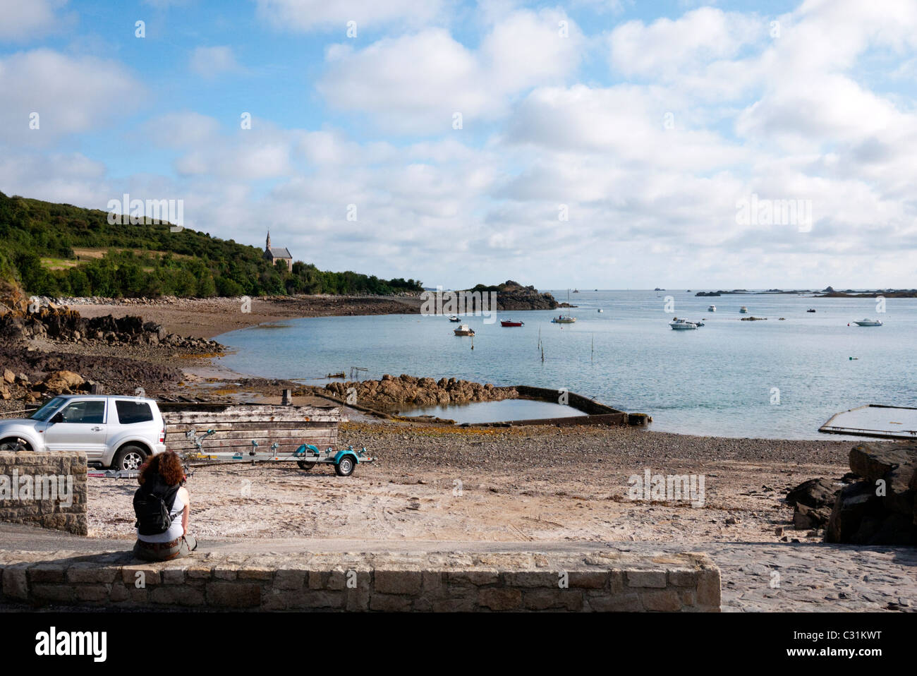 fishing and oyster port Pors Even - Stock Image