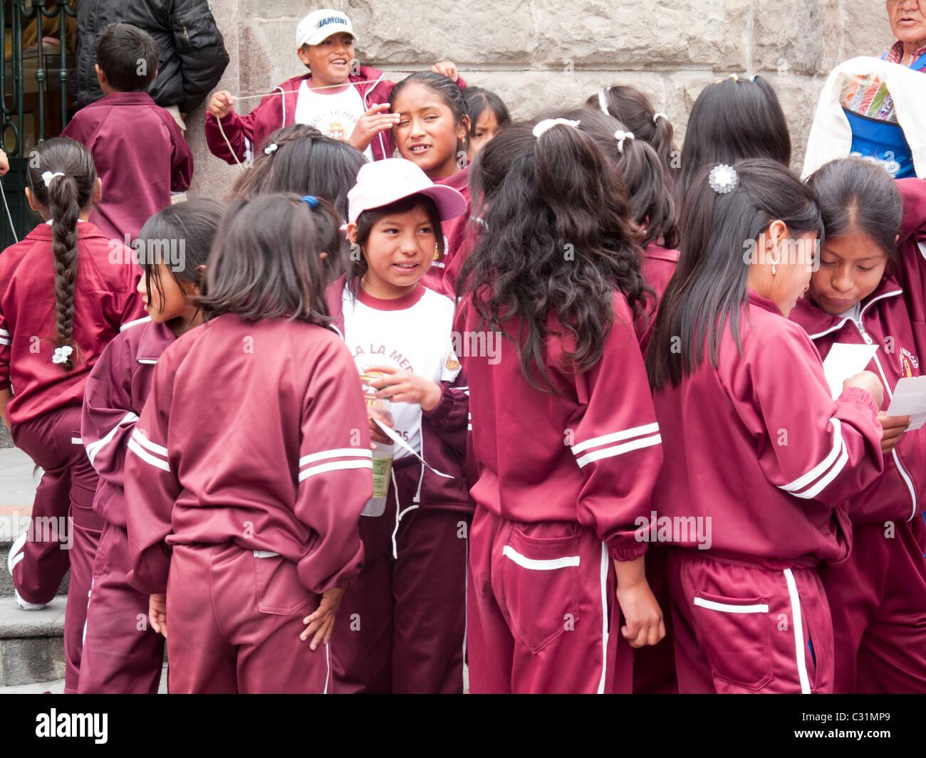 schoolchildren on field trip, Quito, Ecuador, South America - Stock Image