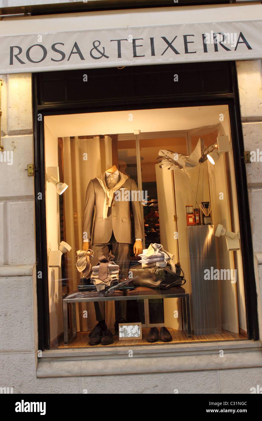 Lisbon Portugal window display of Rosa and Teixeira mens fashion shop store on the Avenida da Liberdade in Lisboa - Stock Image