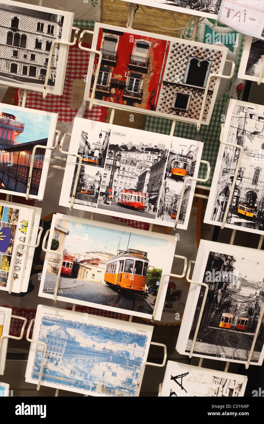 Lisbon Portugal postcards for sale showing the distinctive trams of Lisboa - Stock Image