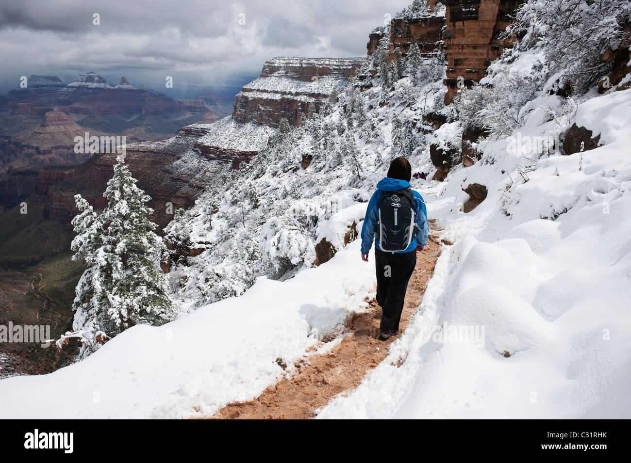 Female Hiker Hiking On Upper Section Of Bright Angel Trail
