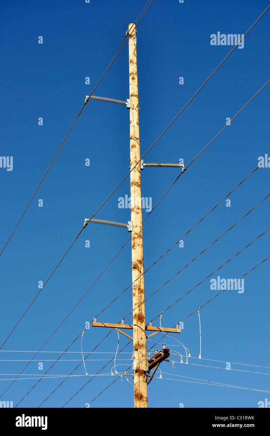 power poles in rural Colorado - Stock Image