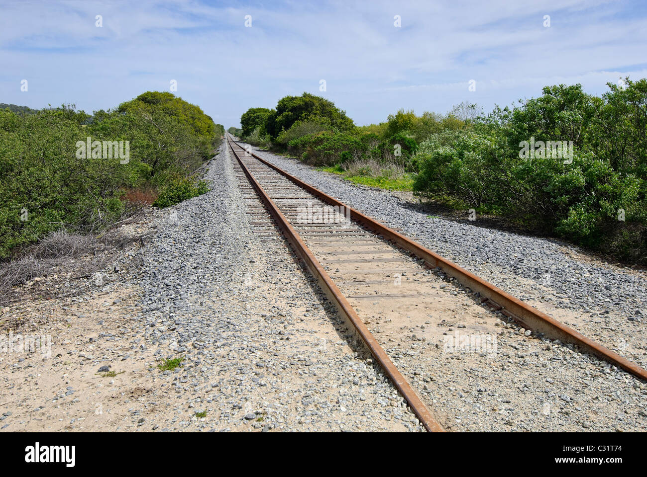 Old train tracks located in Wilder Ranch State Park. - Stock Image