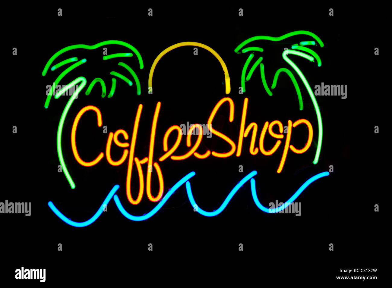 Amsterdam Dutch coffeeshop coffee shop cannabis marijuana marihuana cafe neon sign. Holland; The Netherlands. - Stock Image