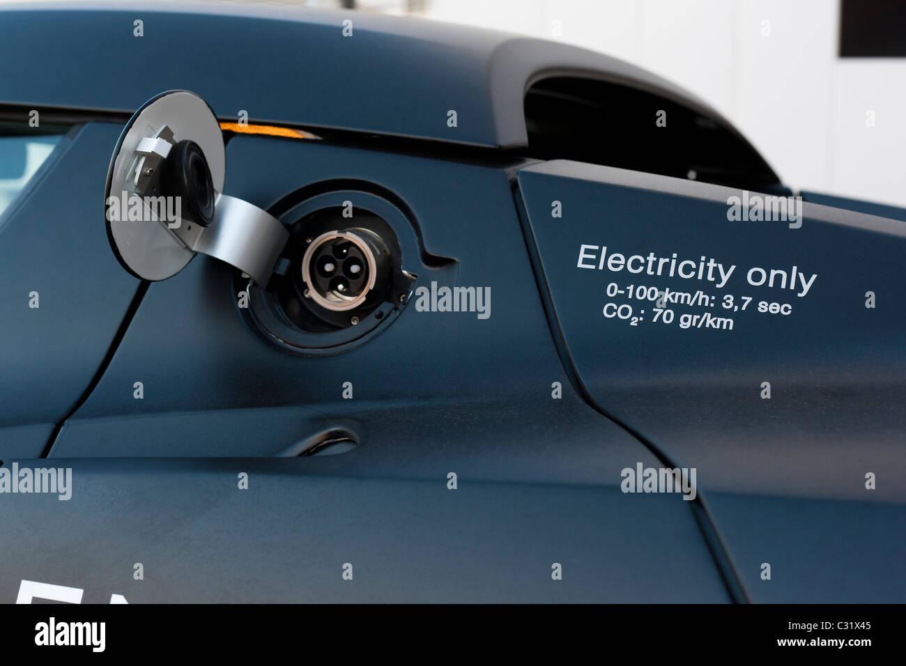 Power socket of a Tesla Roadster electric high performance sports car. Plug in EV. Holland Netherlands Stock Photo