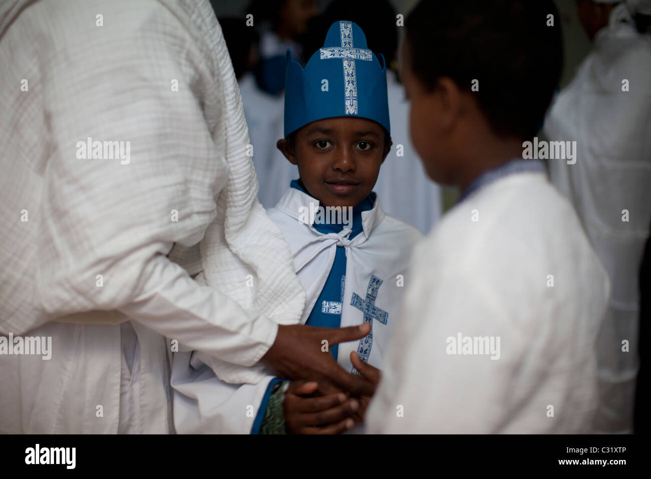 Ethiopian Orthodox worshipers. - Stock Image