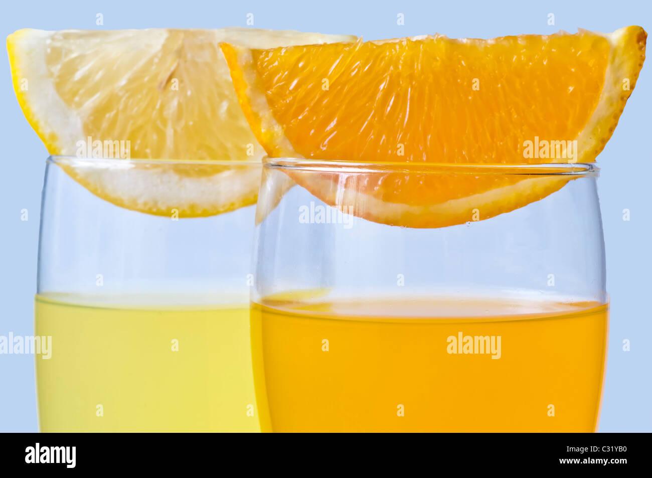 orange juice and lemon juice - Stock Image