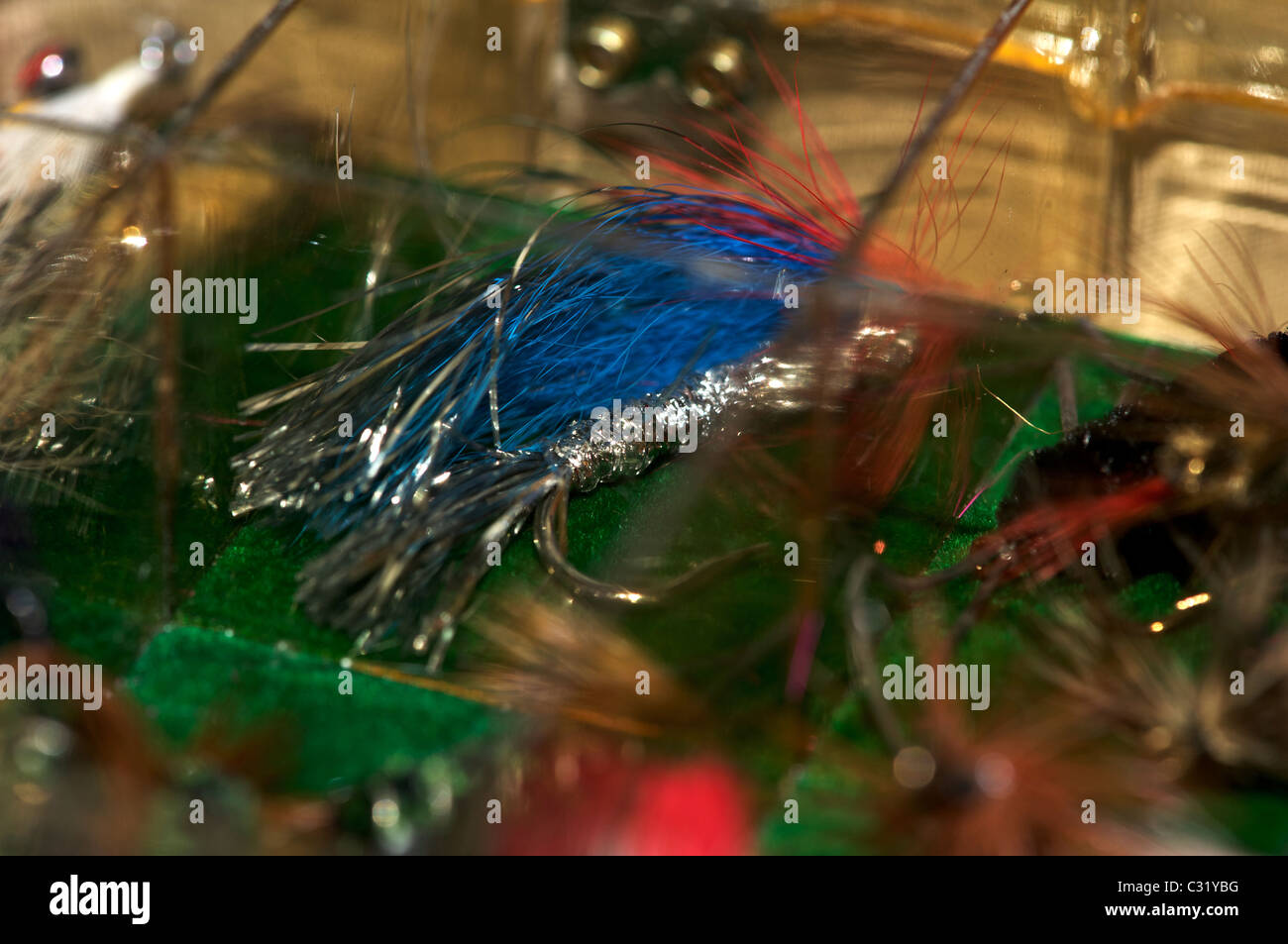 Various fly fishing flies for trout and steelehad Stock Photo