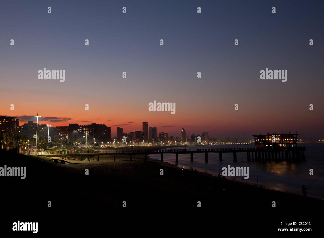The Golden Mile at dusk, Durban, KwaZulu-Natal, South Africa - Stock Image