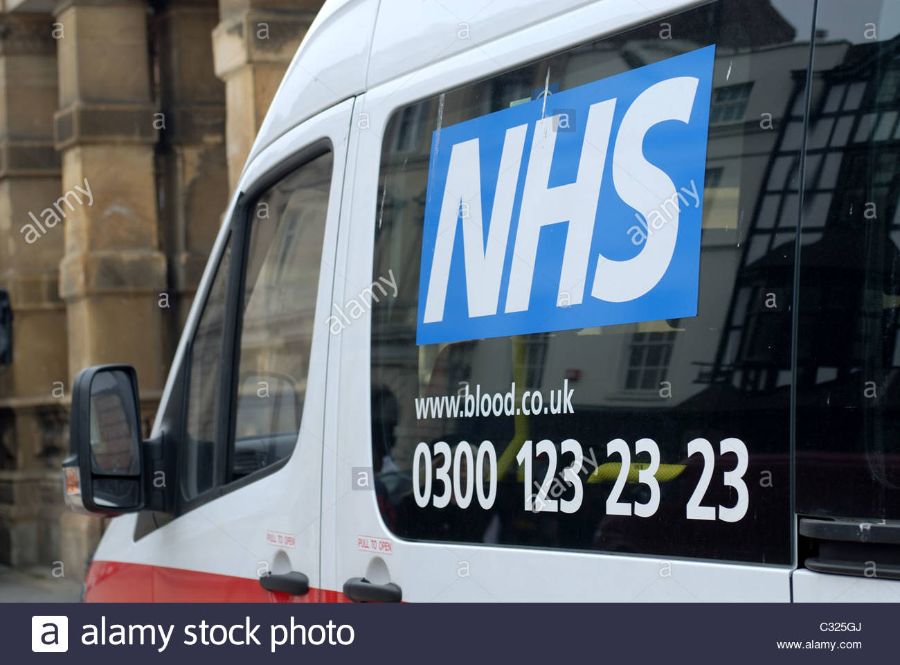 Leamington Spa UK NHS Blood donation vehicle - Stock Image