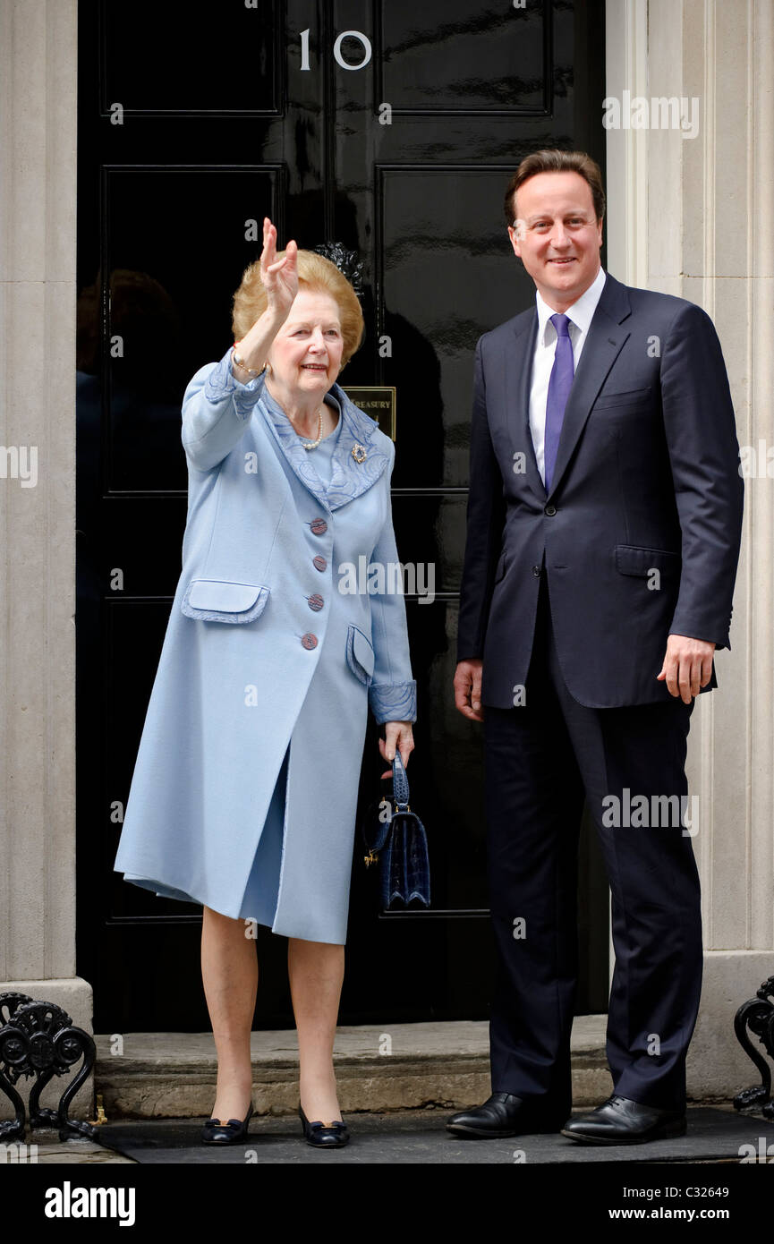 Prime Minister David Cameron meets former Conservative Prime Minister Baroness Margaret Thatcher at Downing Street, - Stock Image
