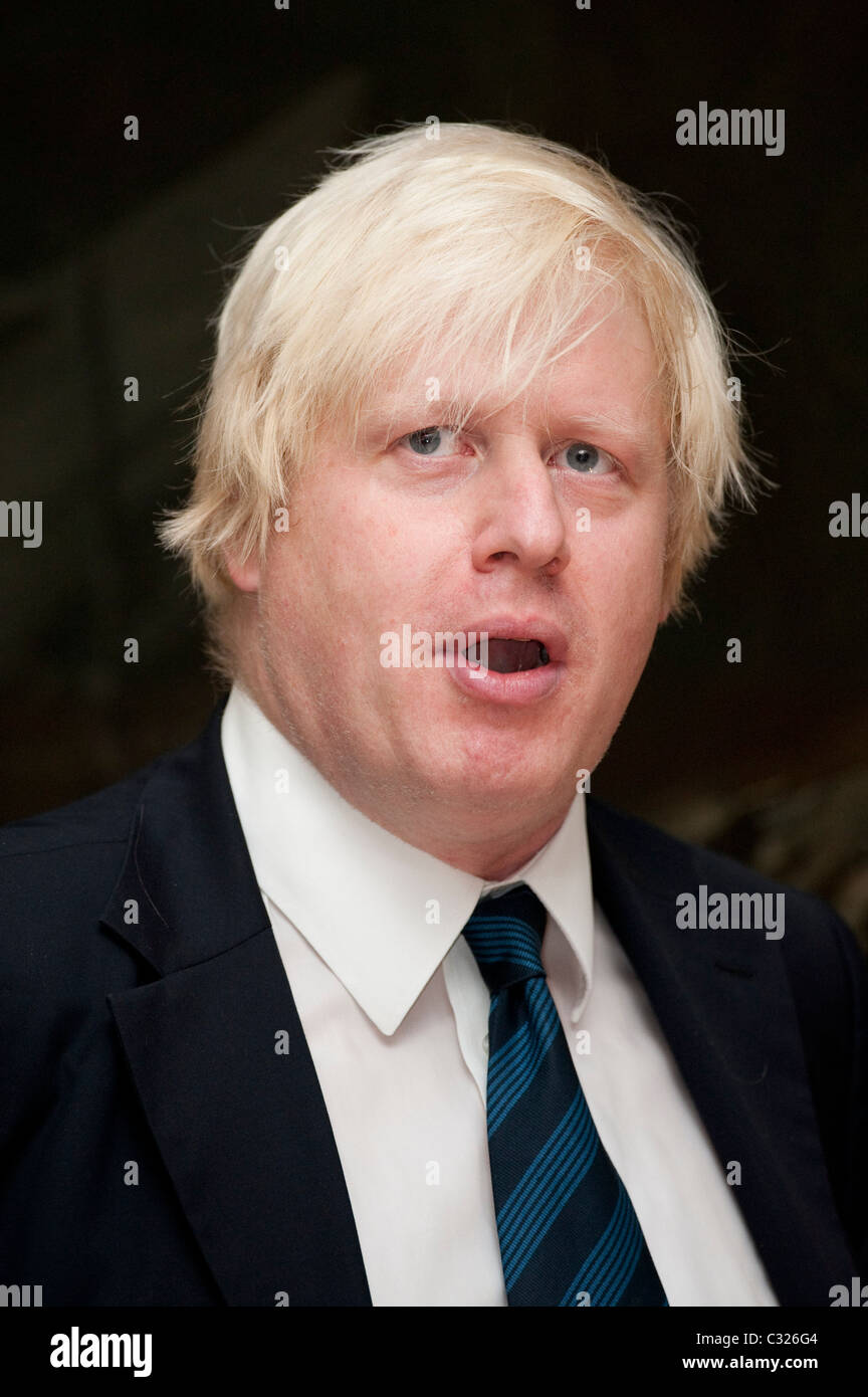 The Mayor of London, Boris Johnson holds a conference about the impact of the economic downturn and art at the V&A, - Stock Image